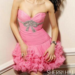 Sherri Hill 1473 pink strapless dress